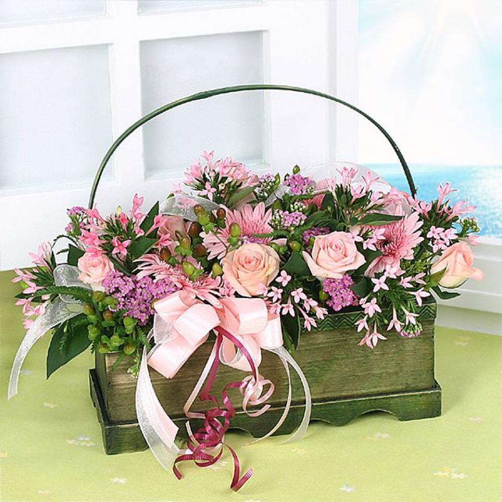 핑크바다 꽃바구니 (중급) 기념일 꽃배달 꽃선물