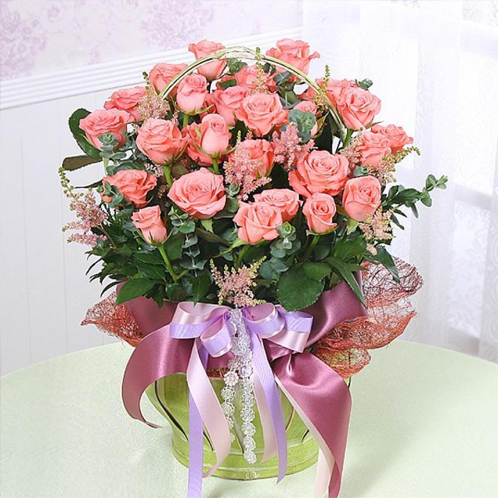 핑크사랑 꽃바구니 (중급) 기념일 꽃배달 꽃선물