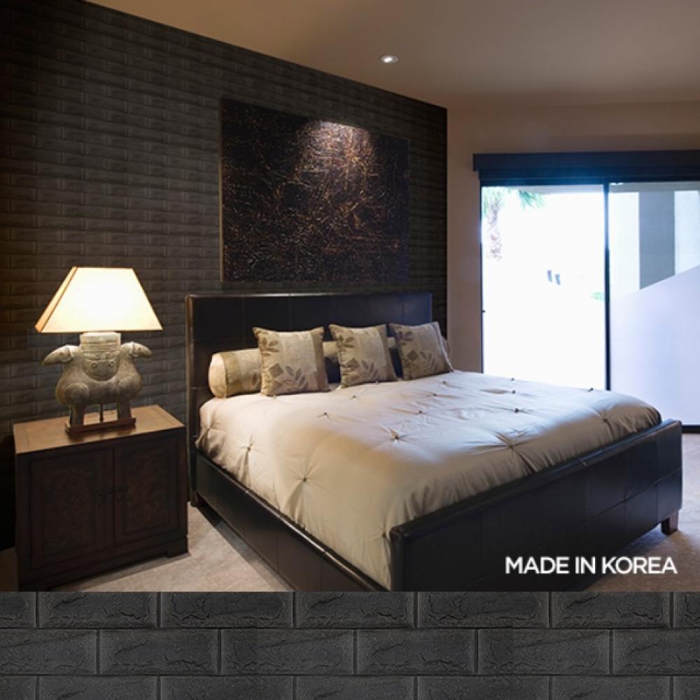 보온 보냉 단열 폼블럭 접착식 타일 벽돌 벽지 블랙 100X47cm 5장